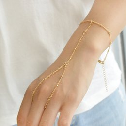 Wholesale Gold Slave Bracelets - Gold-Color Silver Color Metal Chain With Beads Geometric Boho Chic Slave Bracelets For Women Accessories Fashion Jewelry