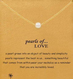 Wholesale Wholesale Delicate Chains - With card! Dogeared Necklace with pearls pendant (pearls of love), silver and gold, noble and delicate, no fade, free shipping high quality.