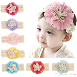 Wholesale Wide Lace Headband Wholesale - Cute Baby Girls headbands Big chiffon flower Lace Bows bowknot wide headbands Children Hair Accessories Infant Kids Hairbands Headwear KHA05
