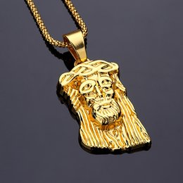 Wholesale God Piece - Hot Sale Men Jewelry Gold Plated GOD BLESS Jesus Christ Piece Necklace Men's Necklace ,Long 75CM Hip Hop HIPHOP mens Necklace Christmas Gift