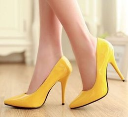 Wholesale Super Girls Sexy - Wholesale New Arrival Hot Sale Specials Super Fashion Sweet Girl Sexy Plain Patent Pointed Colorful Noble Knight Heels Dress Shoes EU34-43
