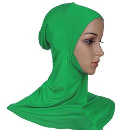 Wholesale Cover Chest - Wholesale- Hijab Headwear Full Cover Underscarf Ninja Inner Neck Chest Plain Hat Cap Scarf Bonnet