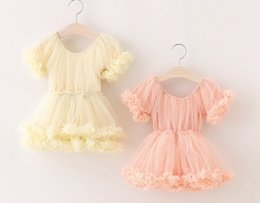 Wholesale Boutique Wedding Gowns - INS Kids Girls Ruffle Lace Dresses Baby Girls Tulle TUTU Dress Princess 3D Flower Wedding Party Dress Children Boutique Clothing