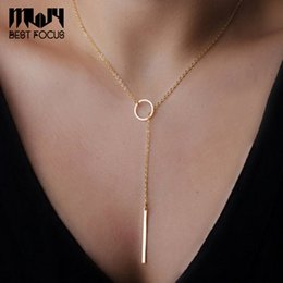 simple necklaces for indian women Promo Codes - MLJY Simple Punk Necklaces&Pendants For Women Gold Placed Pendant Necklaces Fashion Jewelry