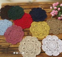 Wholesale Cotton Crochet Table Mat - 20cm Handmade Crochet Coasters Lace Cotton Round Table Mat Zakka Doilies Weave Cup Pads Bowl Mats for Dinning Table 1 6jy