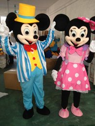 Wholesale Mouse Costume For Sale - 2017 Factory direct sale wedding Mickey Minnie Mouse mascot costume Pink Blue Minnie Mouse Cartoon Costume for adult size