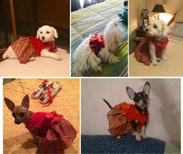 Wholesale Christmas Wedding Dress For Sale - 2017 free shipping hot sales Christmas pet dog clothes warm small medium dog cat Yorkshire For Poodle