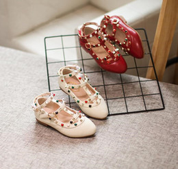 Wholesale Designer Wedge Heel Shoes - 2017 New Fashion Rivet Princess Toddler Casual Shoes Leather Kids Designer Low-heeled Children Shoes For Baby Girls Wedge Sandals KW-SH066