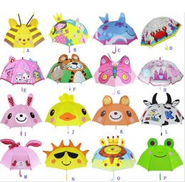 Wholesale Kids Rain Gear Wholesale - 2017 Girls Boys Cute Cartoon Animal Umbrella Children's Umbrellas xmas kitty frog beetle Butterfly Bear Lion Little Kids Rain Gear anti uv