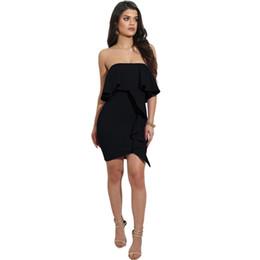 Wholesale White Sundresses For Beach - Ruffle Off Shoulder Dress For Women 2017 Summer Sundress Robe Sexy Bodycon Party Dresses White Black Mini Beach Dress