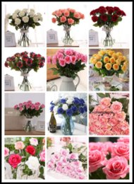 Wholesale Artificial White Tulips - 10pcs lot Decor Rose Artificial Flowers Silk Flowers Floral Latex Real Touch Rose Wedding Bouquet Home Party Design Flowers