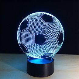Wholesale Football Led Night Light - Novelty Light 7 color change 3d optical illusions Unique Lighting Effects Led Football Night Led Lamp
