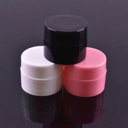 Wholesale Empty Nails Bottle - white black pink small round cream bottle 5g jars pot container empty cosmetic plastic sample container for nail art storage F2017276
