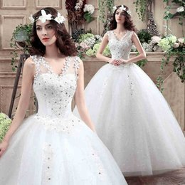 Wholesale Bride Gown Cheap Crystal - Cheap New Women Sexy Slim Spaghetti Gown Wedding Dresses Tiered Skirts Lace-up Floor-Length Bride White Flowers A-Line Dresses Free Shipping