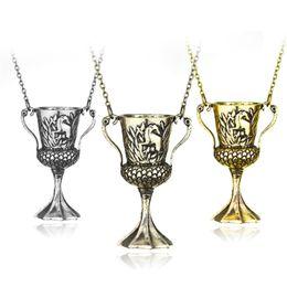 Wholesale Antique Cup Plate - Horcrux Convert Hellgate Hufflepuff Cup Necklace Antique Bronze Pendant Harry Necklace for Men Women Fashion Jewelry