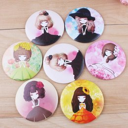 Wholesale Mini Mirror Compacts - Girl mini pocket makeup mirror cosmetic compact mirrors Small Cute Cartoon Pocket Hand Makeup Mirror free shipping