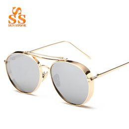 Wholesale Thick Frame Sunglasses - Wholesale- SUNSTONE Unisex Fashion Full Metal Thick Frame AC Coating Sunglasses & Box Brand 2016 Star Style UV400 Eyeglasses Women Men SC36