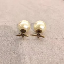 Wholesale Earrings Fashion D - 100% 925 sterling silver brand stud Mother-of-Pear earrings letter stamp color earring fit for pearl style jewelry fashion earring have logo