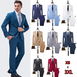 Wholesale Two Piece Men Cotton Suits - The High Quality Spring 2017 Business and Leisure Suit A Two-piece Suit The Groom's Best Man Wedding 7 Colors CL043