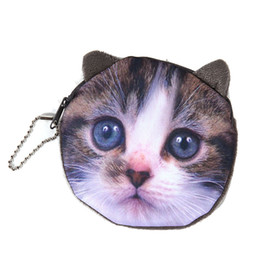 Wholesale Zipper Side Bag - Wholesale- NEW Printed on both sides Cat Face Zipper Coin purse wallet bag coin pouch children's purse women coin wallet