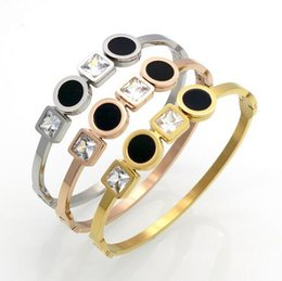 Wholesale Love Square Bracelet - Luxury Jewelry Double Square Diamond Stone Round Black Shell Charms Love Bracelet Women 316L Stainless Steel Gold Open Bangle