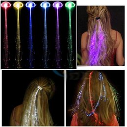 Wholesale Led Wigs - 1200pcs lot Colorful LED Wigs Glowing Flash LED Hair Braid Clip Hairpin Decoration Ligth Up Show New Year Party supplies Christmas