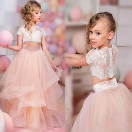 Wholesale jewel pieces for dresses - Spring Two Pieces Flower Girl Dresses For Christmas Jewel Short Sleeves Lace Girls Pageant Dresses Back Covered Button Girls Wedding Dress