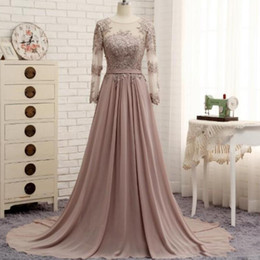 Wholesale Lovely Bride - Lovely Formal Custom Made Mother Of The Groom Bride Dresses Chiffon Lace Applique Long Sleeves A-Line Dresses Mother Of The Bride Dresses