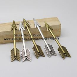Wholesale Vintage Arrows - Wholesale-Antique Metal Zinc Alloy Arrow Charms Vintage Trendy Bow Pendant for Jewelry Making 20pcs 11*65mm 7509