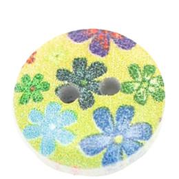 Jóia com botão de madeira on-line-Botões de madeira Botão de Pintura 15mm 100 pcs Botões de madeira de madeira botões de jóias Vestidos Da Menina de Flor