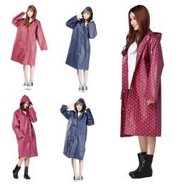 Wholesale Raincoats For Adults - 60pcs EVA Dot Environment Safety Raincoat With Hood For Men And Women Outdoor Rainwear Waterproof Poncho Over Knee Length Rain Coat IB147