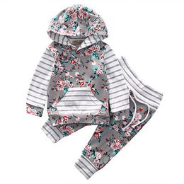 Wholesale Adorable Baby Clothes - Wholesale- New arrival girl & boys clothes set Adorable Newborn Baby Girls Floral Clothes Hooded Tops Pants Home Outfits Set