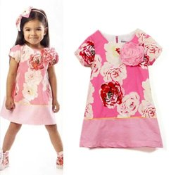 Wholesale Girls Pure Cotton Flowered Dresses - 2 coor Children Baby three-dimensional flower Dress Girls Peony printed short sleeves Dresses Pure cotton Wholesale