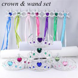 Wholesale Plastic Headband Wholesale - Snowflake ribbon wands crown 2pc set fairy wand girl Christmas party snowflake gem sticks magic wands headband princess crown tiara colorful