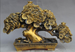 "Wholesale Wedding Statue Tree - 17""Folk Chinese Fengshui Brass YuanBao Coin Wealth Auspicious Statue Money Tree"