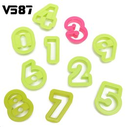 Wholesale Numbers Cookie Cutters - 10Pcs Numbers Cake Cookie Mold Cutter Set Fondant Baking Tool Birthday Biscuit Sugarcraft Fondant Decorating Press Ebosser