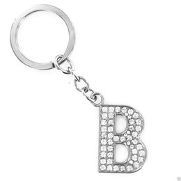 Wholesale Initial Letter Ring - Initial 26 Alphabet English Letters A-Z Keychain Keyring - Personality Creative Key Chain Car Crystal Alloy Key Chains Key Ring