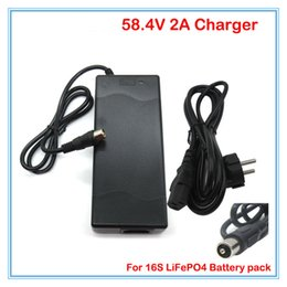 Wholesale 48v lifepo4 - 48V Lifepo4 Battery charger 58.4V 2A Lifepo4 Charger RCA Port for 48V Lifepo4 bike Battery pack charger