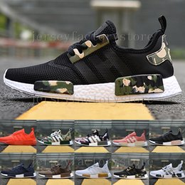 """Wholesale Cheap Glowing Shoes - 2017 Cheap Wholesale Discount NMD R1 W """"Blue Glow"""" Shoes Mens Women's Athletic Running sneakers Shoes Running Shoe Brand Boost Size 36-45"""