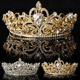 Wholesale queen stock - Bridal Gold Jewelry Wedding Accessories Crystal Rhinestone Heart Round Queen Headband Crown Tiara Hairband Headpiece In Stock Drop Shipping