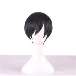 2019 pelucas de cabello barato hombres Barato Cosplay corto pelucas de pelo Bob Sebastian Michaelis Side Bang peluca resistente al calor para los hombres Negro peluca sintética rebajas pelucas de cabello barato hombres