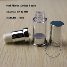 Wholesale Plastic Fragrance Spray Bottles Wholesale - 5ml Bright Silvery Emulsion Airless Vacuum Bottle Lotion Pump Spray Refillable Fragrance Bottle Cosmetic Container 100pcs lot