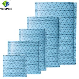 Wholesale Open Silk Stockings - Many Sizes Blue  Silver  Blue Heat Sealable Package Flat Black Pattern Prism Aluminum Foil Mylar Open Top Bags With Tear Notch