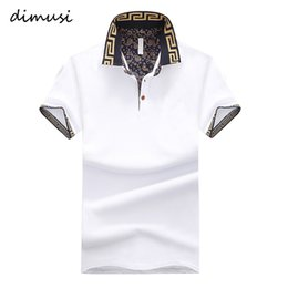 Wholesale Stand Collar Shirts Men - DIMUSI Summer POLO Shirt Men Cotton Stand Collar Short Sleeve Shirts Camisas Polo Solid Slim Mens Polo Tops Tee 5XL