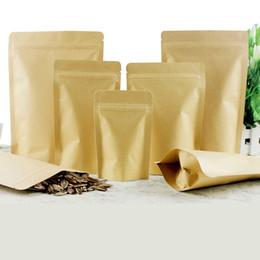Sacchetti laminati online-Imballo in alluminio laminato con chiusura lampo risigillabile in carta kraft marrone con supporto alimentare per alimenti