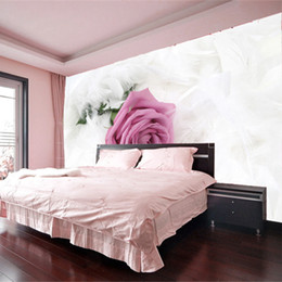 Wholesale Large Purple Wall Art - NEW Modern fashionable marriage room purple rose white feather Art customized 3d large murals wall paper bedroom entranceway tv background