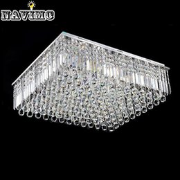 Canada New Modern Flush Mount Square Clear Crystal Ceiling Light Living Room Bedroom Lamp