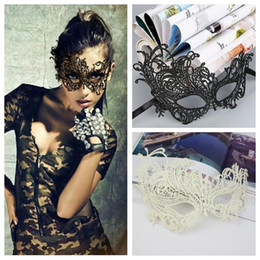 Wholesale Sexy Costume Cartoon - Sexy Lace Party Masks Women Halloween Xmas Cosplay Costume Masquerade Dancing Valentine Hollow Out Half Face Mask CCA6881 200pcs
