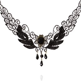 Wholesale Rose Lace Choker - Choker Necklaces Lolita Delicate Lace Black Crystal Droplets Tassel Necklace For Women Black Rose Statement Necklaces