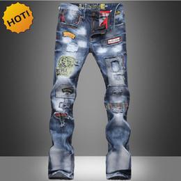 patchs de danse Promotion HOT2017 Mode Hip Hop Danse Denim Jeans Hommes Cowboy Multi Patch Lavage Imprimé Street Wear Droite Slim Fit Trou Déchiré Pantalon